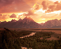 Wyoming, Teton Mountain Range and Snake River Sunset, in Grand Teton National Park, establsihed 1929