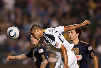 LA Galaxy defender Leonardo (22) with a goal scoring headball. The LA Galaxy defeated the Philadelphia Union 1-0 at Home Depot Center stadium in Carson, California on  April  2, 2011....