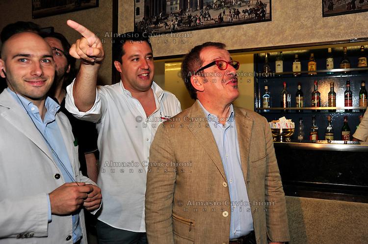 28 GIU 2012; Milano: Alessandro Morelli,  Matteo Salvini e Roberto Maroni