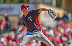 4 March 2013: Minnesota Twins pitcher Alex Meyer on the mound during a Spring Training game against the St. Louis Cardinals at Roger Dean Stadium in Jupiter, Florida. The Twins shut out the Cardinals 7-0 in Grapefruit League play. Mandatory Credit: Ed Wolfstein Photo *** RAW (NEF) Image File Available ***