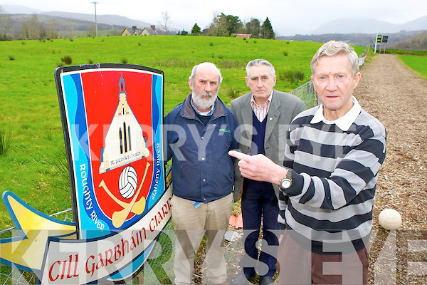 Kilgarvan GAA club chairman Tom Randles right Jerh Lyne and Tadgh O'Donoghue left who are appealing for the church to sell the field adjacent to their GAA pitch to the club..