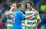 St Johnstone v Celtic...13.08.14  SPFL<br /> Stefan Johansen and Mikael Lustig point the finger at Steven MacLean<br /> Picture by Graeme Hart.<br /> Copyright Perthshire Picture Agency<br /> Tel: 01738 623350  Mobile: 07990 594431