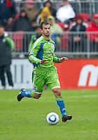 25 April 2010: Seattle Sounders defender Patrick Ianni #4 in action during a game between the Seattle Sounders and Toronto FC at BMO Field in Toronto..Toronto FC won 2-0....