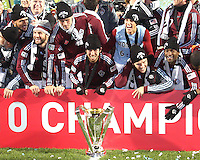Colorado Rapids with MLS Cup at MLS Cup 2010 at BMO Stadium in Toronto, Ontario on November 21 2010. Colorado won 2-1 in overtime.