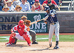24 July 2016: San Diego Padres infielder Alexei Ramirez connects for a single in the 6th inning against the Washington Nationals at Nationals Park in Washington, DC. The Padres defeated the Nationals 10-6 to take the rubber match of their 3-game, weekend series. Mandatory Credit: Ed Wolfstein Photo *** RAW (NEF) Image File Available ***