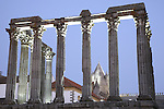 Roman Temple - Diana with Cathedral in the background; Evora; Portugal