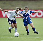 24 May 2003: Julie Fleeting (9) and Breanna Boyd (right). The San Diego Spirit defeated the Carolina Courage 2-1 at SAS Stadium in Cary, NC in a regular season WUSA game.