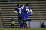 20 November 2016: FGCU's Robert Ferrer (ESP) (8) celebrates scoring a goal with Miguel Jaime (13). The University of North Carolina Tar Heels hosted the Florida Gulf Coast University Eagles at Fetzer Field in Chapel Hill, North Carolina in a 2016 NCAA Division I Men's Soccer Tournament Second Round match. UNC defeated FGCU 3-2 in two overtimes.