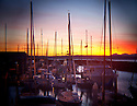 LB00127-00...WASHINGTON - Edmonds Marina at sunset. Holga image.