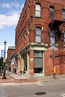 Victorian buildings on a street corner in the city of Saint John, New Brunswick, Canada