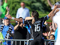 Santa Clara, Ca - Sunday, May 13, 2012: Alan Gordan celebrates with fans after scoring a goal to tie Chivas 1-1, at Buck Shaw Stadium during a regular season match.