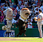 16 September 2007: The Presidential Mascots race with Teddy Roosevelt leading George Washington between innings as the Washington Nationals face the Atlanta Braves at Robert F. Kennedy Memorial Stadium in Washington, DC. The Braves shut out the Nationals 3-0 to take the third game of their 3-game series.. .Mandatory Photo Credit: Ed Wolfstein Photo