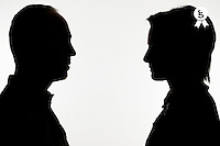 Silhouette of man and woman face to face (Licence this image exclusively with Getty: http://www.gettyimages.com/detail/sb10068346bt-001 )