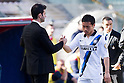 "(L-R) Andrea Stramaccioni, Yuto Nagatomo (Inter), APRIL 14, 2013 - Football / Soccer : Yuto Nagatomo of Inter shakes hands with Andrea Stramaccioni after being substituted during the Italian ""Serie A"" match between Cagliari 2-0 Inter Milan at Stadio Nereo Rocco in Trieste, Italy. Nagatomo returned to the field after an injury that held him in February, but injured the same knee after 6 minutes of play. (Photo by Enrico Calderoni/AFLO SPORT)"