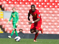 LIVERPOOL, ENGLAND - Easter Monday, April 1, 2013: Liverpool's Stephen Sama in action against Tottenham Hotspur during the Under 21 FA Premier League match at Anfield. (Pic by David Rawcliffe/Propaganda)