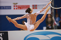 Anna Bessonova of Ukraine split leaps with hoop during seniors All-Around competition at 2008 European Championships at Torino, Italy on June 6, 2008.  Photo by Tom Theobald.