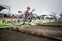 Michael Boros (CZE/Pauwels Sauzen-Vastgoedservice) jumping/flying over the logs<br /> <br /> elite men's race<br /> GP Sven Nys 2017