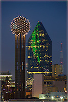 Using a telephoto lens, I was able to capture a clower view of Reunion Tower and Fountain Place. Reunion Tower is a icon of the Dallas Skyline, and Fountain Place sits close by.<br />