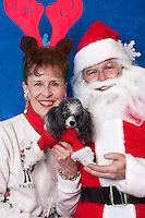 Linda Ellefson and her toy poodle, Izzy, pose for a holiday photo with Santa at Pet Pros in Redmond, WA to help raise money for Dogs Deserve Better on December 11, 2010. (photo by Karen Ducey)