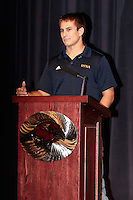 SAN ANTONIO, TX - OCTOBER 17, 2013: University of Texas at San Antonio Roadrunner Quarterback Eric Soza is announced as a member of the Allstate AFCA Good Works Team at John Paul Stevens High School. (Photo by Jeff Huehn)