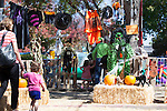 Families wander through a display of Halloween decorations and hay bales during the Los Altos Fall Festival.