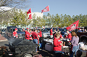 Fans tailgate prior to the 2011 NHL All-Star Game at the RBC Center in Raleigh, NC on 1/30/2011. Many fans bring elaborate equipment to tailgate before hockey games in Raleigh.