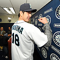 Hisashi Iwakuma (Mariners),.JANUARY 29, 2012 - MLB :.Seattle Mariners new signing pitcher Hisashi Iwakuma poses in his new jersey during his introductory press conference at Safeco Field in Seattle, Washington, United States. (Photo by AFLO)