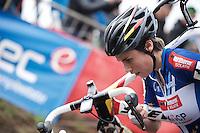 European Champion Sanne Cant (BEL/Enertherm-BKCP) leading the race<br /> <br /> Jaarmarktcross Niel 2015  Elite Women's Race