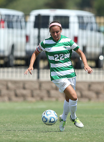 ARLINGTON, TX - AUGUST 25: Tori Adame #22 of the North Texas Mean Green - Houston Baptist vs North Texas Mean Green Soccer at Mean Green Village Soccer Field in Denton on August 25, 2013 in Denton, Texas. Photo by Rick Yeatts