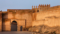 General view of the walls of Bou Jeloud Square, 14th century, Fes-el-Bali, Fez, Morocco, pictured on February 25, 2009 in the morning. Fez, Morocco's second largest city, and one of the four imperial cities, was founded in 789 by Idris I on the banks of the River Fez. The oldest university in the world is here and the city is still the Moroccan cultural and spiritual centre. Fez has three sectors: the oldest part, the walled city of Fes-el-Bali, houses Morocco's largest medina and is a UNESCO World Heritage Site;  Fes-el-Jedid was founded in 1244 as a new capital by the Merenid dynasty, and contains the Mellah, or Jewish quarter; Ville Nouvelle was built by the French who took over most of Morocco in 1912 and transferred the capital to Rabat. Picture by Manuel Cohen.
