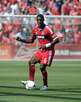 Chicago defender Jalil Anibaba (6) passes the ball.  The LA Galaxy defeated the Chicago Fire 2-0 at Toyota Park in Bridgeview, IL on July 8, 2012.