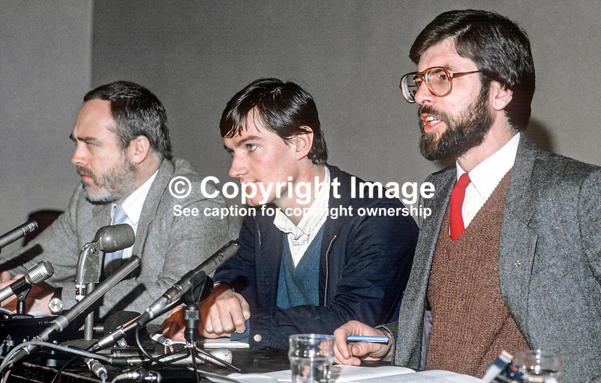 Provisional Sinn Fein press conference following signing of Anglo-Irish Agreement - left to right - Danny Morrison, Brian McDonald, aka Brian MacDomhnaill, and Gerry Adams. 19851111GA1.<br />