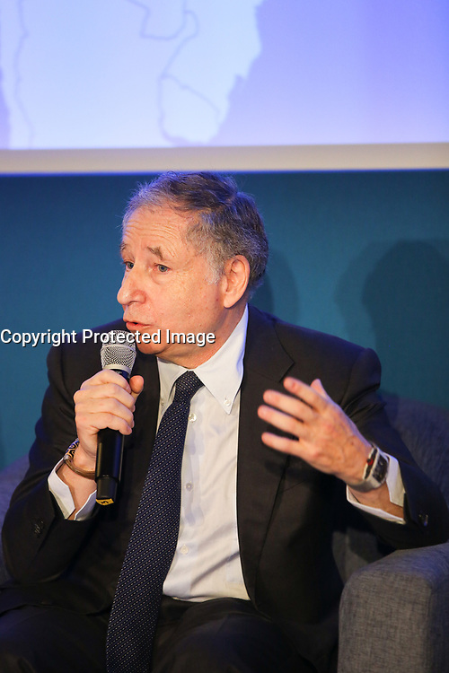 JEAN TODT, PRESIDENT DE LA FEDERATION INTERNATIONALE DE L' AUTOMOBILE (FIA), LANCEMENT DE LA PREMIERE CAMPAGNE MONDIALE DE COMMUNICATION EXTERIEURE DEDIEE A LA SECURITE ROUTIERE, PARIS, FRANCE, LE 10/03/2017.