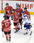 Cody Goloubef (Canada - 17), Tyler Myers (Canada - 3), Brett Sonne (Canada - 12), Jamie Benn (Canada - 24), Andrei Korovkin (Kazakhstan - 5), Angelo Esposito (Canada - 7) - Canada defeated Kazakhstan 15-0 on Sunday, December 28, 2008, at Scotiabank Place in Kanata (Ottawa), Ontario, during the 2009 World Junior Championship.