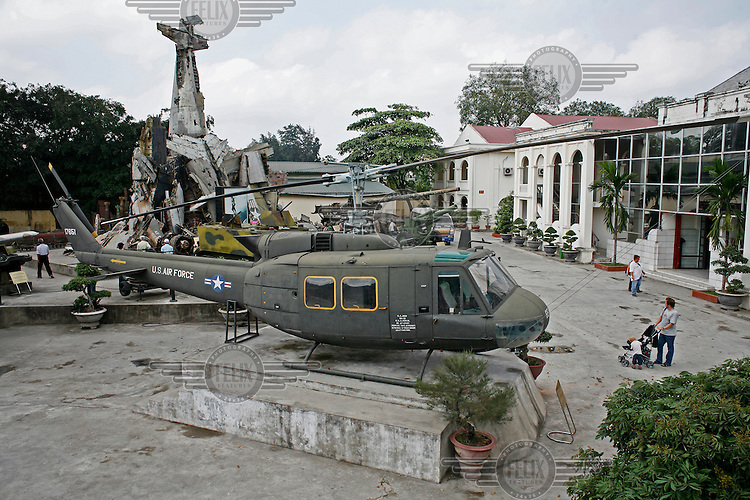 An American Bell Huey helicopter in Vitenam War museum, Hanoi.