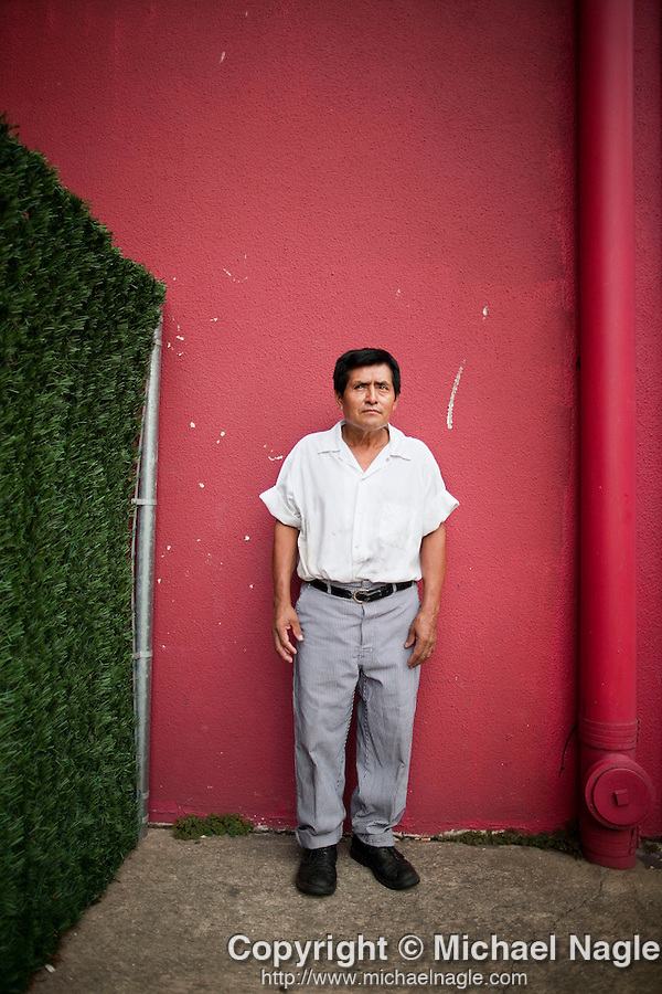 STATEN ISLAND  --  JULY 29, 2010:   Alejandro Galindo, 52, (from Oaxaca, Mexico) was attacked in the Port Richmond neighborhood of Staten Island.  Galindo poses outside of restaurant (not in Port Richmond) on July 29, 2010, where he works as a cook.  (PHOTOGRAPH BY MICHAEL NAGLE).