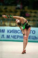 "Valeria Shurkhal of Ukraine body waves with clubs at 2008 World Cup Kiev, ""Deriugina Cup"" in Kiev, Ukraine on March 22, 2008."