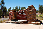 USA, Utah, Park Service signage presenting Bryce Canyon National Park.