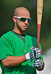 17 July 2013: Vermont Lake Monsters infielder Wilfredo Solano warms up prior to a game against the Aberdeen Ironbirds at Centennial Field in Burlington, Vermont. The Lake Monsters fell to the Ironbirds 5-1 in NY Penn League action. Mandatory Credit: Ed Wolfstein Photo