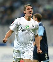 Fussball 2. Bundesliga:  Saison   2012/2013,    10. Spieltag  TSV 1860 Muenchen - FC Erzgebirge Aue  22.10.2012 Jubel nach dem Tor zum 0:1 Jakub Sylvestr (FC Erzgebirge Aue)
