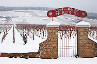 Latricieres vineyard gate in the snow. Chambertin Clos de Vin - Cote D'or, beaune, France.