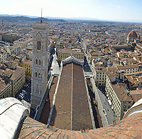 Cityscape from top of cupola of the Duomo Santa Maria Del Fiore, Florence, Tuscany, Italy