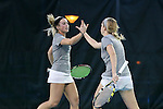 21 February 2017: ASU's Heidi Swope (left) and McKayla Zupan (right). The University of North Carolina Tar Heels hosted the Appalachian State University Mountaineers at the Cone-Kenfield Tennis Center in Chapel Hill, North Carolina in a Women's College Tennis match. North Carolina won the match 6-1.