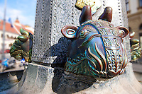 Zolnay Bull's head fountain, Pecs ( Pécs ) - European Cultural City of The Year 2010 , Hungary