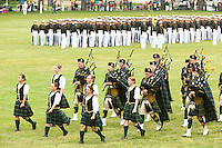The US Naval Academy Pipes and Drums brigade marches during the Color Parade at Worden Field on May 21, 2015 in Annapolis.
