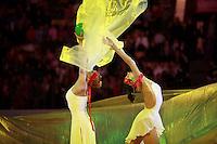 "(L-R)  Natalya Godunko and Anna Bessonova of Ukraine perform gala exhibition at 2008 World Cup Kiev, ""Deriugina Cup"" in Kiev, Ukraine on March 22, 2008."