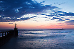 Amble Harbour Light and Coquet Island at Dawn Amble by the Sea Northumberland England
