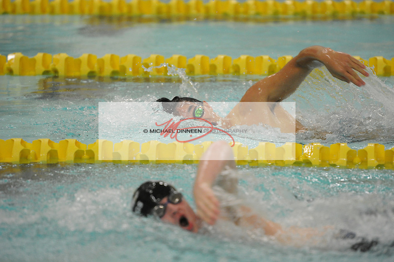 From top, Eagle River senior Joe  Min and Chugiak's James Dobson race to the finish of the 200 IM at Bartlett High School Friday, Sept. 23, 2016.  Photo for the Star by Michael Dinneen