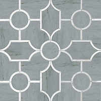 Chatham 3, a waterjet stone mosaic, shown in hone Bardiglio and polished Thassos, is part of the Silk Road Collection by Sara Baldwin for New Ravenna.