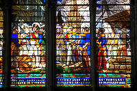 stained glass from the  Gothic Cathedral Basilica of Saint Denis ( Basilique Saint-Denis ) Paris, France. A UNESCO World Heritage Site.